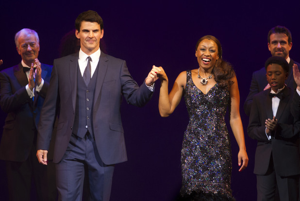 Tristan Gemmill (Frank Farmer) and Beverley Knight (Rachel Marron) Curtain Call, The Bodyguard.