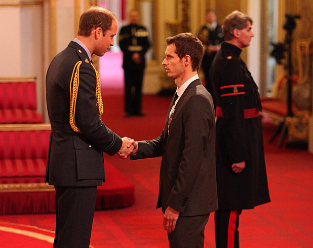 Wimbledon champion Andy Murray receives his Officer of the Order of the British Empire (OBE) medal from the Duke of Cambridge, during an Investiture ceremony at Buckingham Palace, London.
