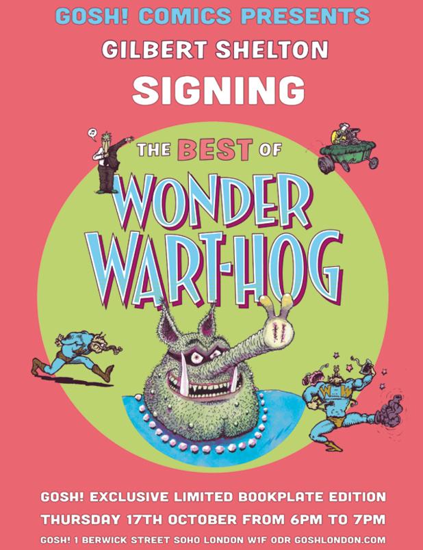 Gilbert Shelton signing poster