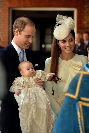 The Duke and Duchess of Cambridge with their son Prince George arrive at Chapel Royal in St James's Palace ahead of the christening