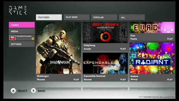 GameStick user interface