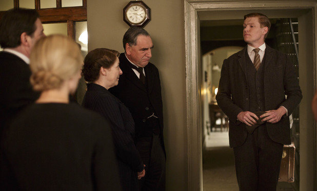 Phyllis Logan as Mrs Hughes, Jim Carter as Mr Carson and Matt Milne as Alfred in 'Downton Abbey' Season 4 Episode 6