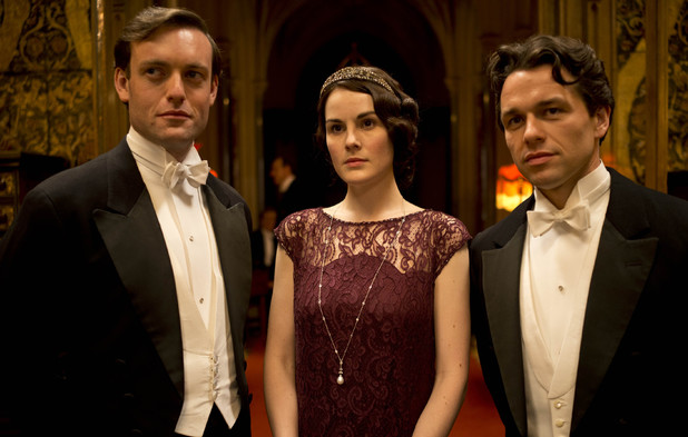 Evelyn Napier as Brendan Patricks, Michelle Dockery as Lady Mary and Julian Ovenden as Charles Blake in 'Downton Abbey' Season 4 Episode 6