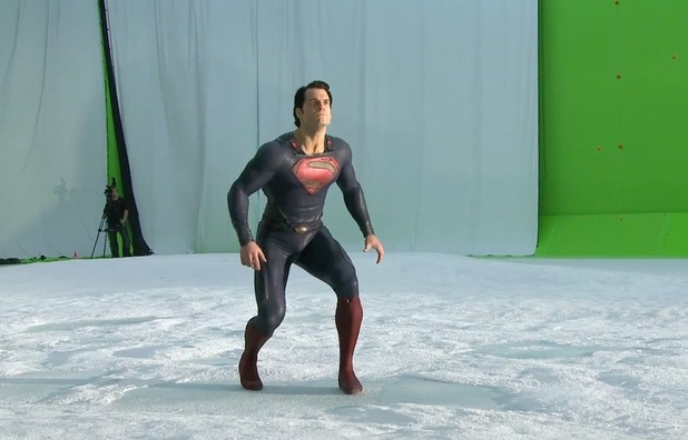 Henry Cavill flying in Man of Steel