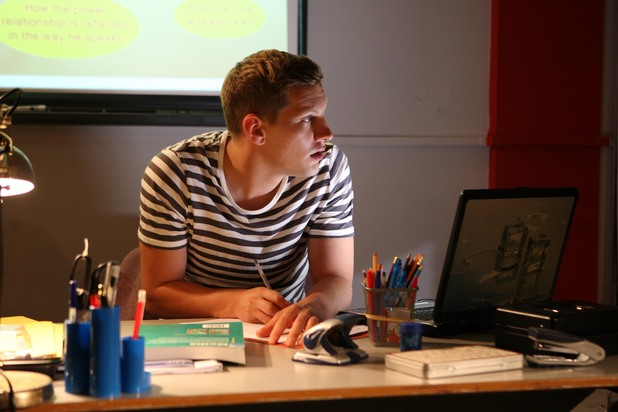 John Paul McQueen at work at Hollyoaks High
