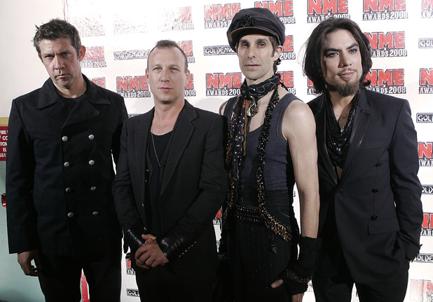 Eric Avery, Stephen Perkins, Perry Farrell and Dave Navarro of the band Jane's Addiction pose on the press line at the NME Awards USA.