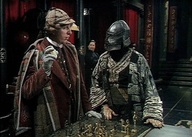 Tom Baker as The Doctor and Michael Spice as Weng-Chiang/Magnus Greel in Doctor Who: 'The Talons of Weng-Chiang'