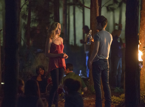 Candice Accola as Caroline and Paul Wesley as Stefan in The Vampire Diaries S05E04: 'For Whom The Bell Tolls'
