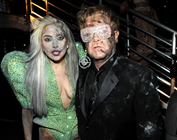 Lady Gaga and Elton John attends the 52nd Annual GRAMMY Awards held at Staples Center on January 31, 2010 in Los Angeles, California. (Photo by Kevin Mazur/WireImage)