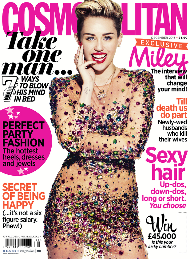 Miley Cyrus appears on Cosmo's December Cover