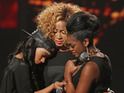 Miss Dynamix and Hannah Barrett compete in the sing-off on week 3 of The X Factor.