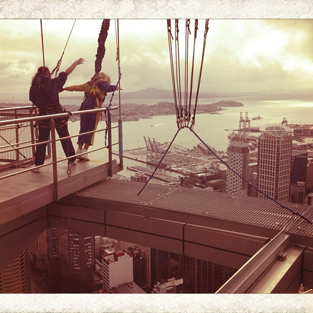 Beyoncé prepares to make a freefall jump in Auckland, New Zealand.