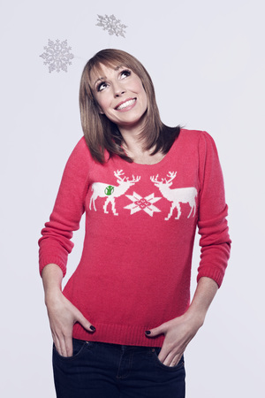 Alex Jones posing for Save The Children's 'Christmas Jumper Day' campaign 2013