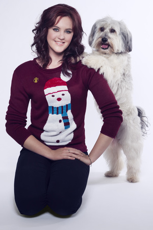 Ashleigh and Pudsey posing for Save The Children's 'Christmas Jumper Day' campaign 2013