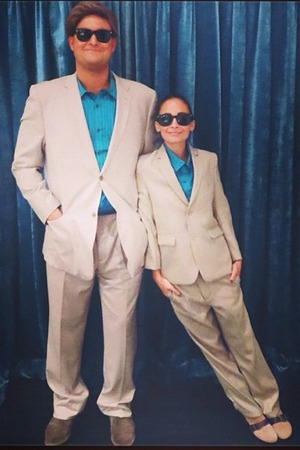 Nicole Richie and friend dressed as Arnie and Danny DeVito for Halloween.