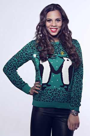 Rochelle Humes posing for Save The Children's 'Christmas Jumper Day' campaign 2013