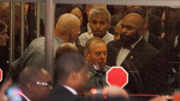 Chris Brown leaving court in Washington, DC