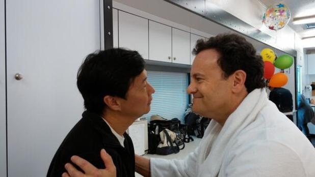 Mitch Hurwitz, Ken Jeong on 'Community' set