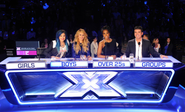 Demi Lovato, Paulina Rubio, Kelly Rowland and Simon Cowell on The X Factor USA first live show