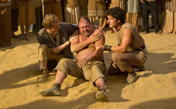 Pythagoras (Robert Emms), Hercules (Mark Addy) and Jason (Jack Donnelly) in Atlantis episode 6