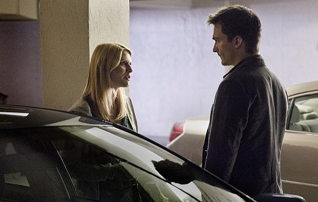 Claire Danes as Carrie Mathison and Rupert Friend as Peter Quinn in Homeland Season 3 Episode 5: 'The Yoga Play'