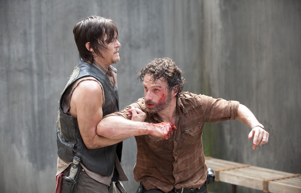 Daryl Dixon (Norman Reedus) and Rick Grimes (Andrew Lincoln) in The Walking Dead: 'Infected'