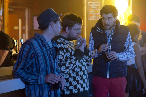 Joe Thomas as Kingsley, Greg McHugh as Howard and Jack Whitehall as J.P. in 'Fresh Meat' Series 3 - Episode 1