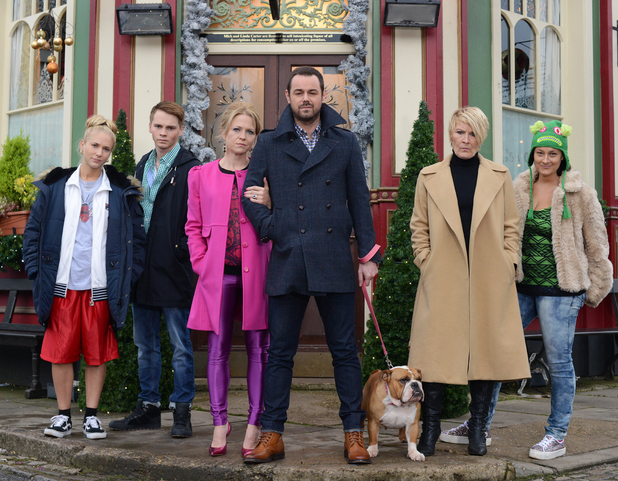 The Carter family in Albert Square. Nancy Carter (MADDY HILL), Johnny Carter (SAM STRIKE), Linda Carter (KELLIE BRIGHT), Mick Carter (DANNY DYER), Shirley Carter (LINDA HENRY), Tina Carter (LUISA BRADSHAW WHITE)