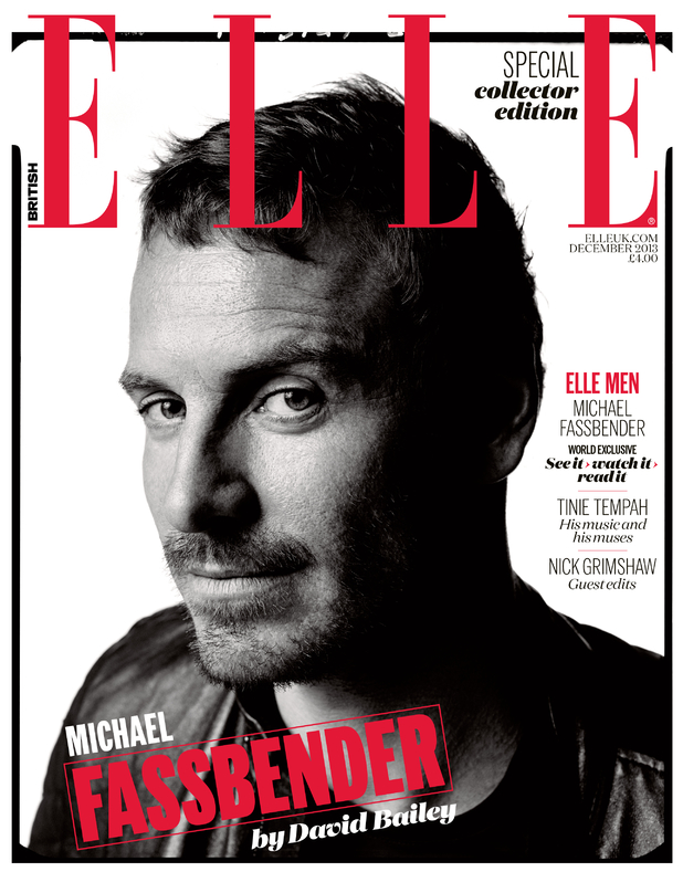 Michael Fassbender on the December cover of Elle UK