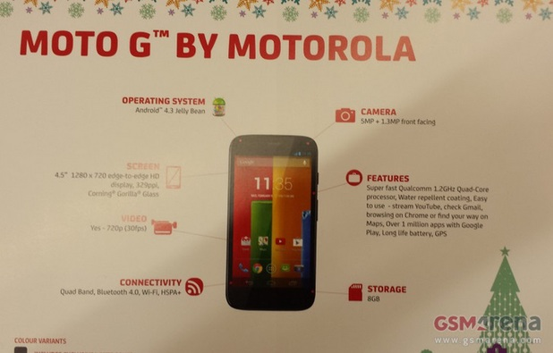 Purported promo sheet for the Moto G
