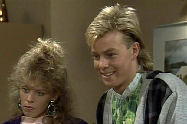 'Neighbours' TV Programme. Kylie Minogue and Jason Donovan 1980s