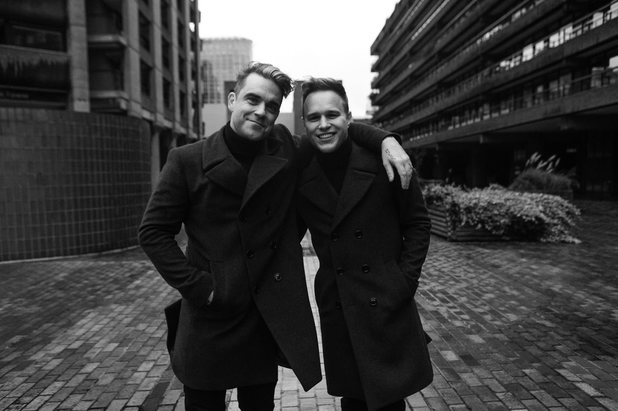 Olly Murs with Robbie Williams on the set of his new music video for 'Hand on Heart'