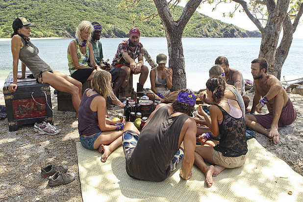 The newly merged tribe enjoys a feast in 'Survivor: Blood vs Water' - 'Skin of my Teeth'