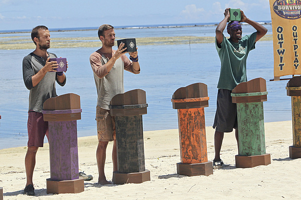 Vytas Baskauskas, Aras Baskauskas and Gervase Peterson compete in the Immunity Challenge in 'Survivor: Blood vs Water' - 'Skin of my Teeth'