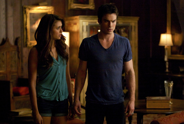 Nina Dobrev as Elena and Ian Somerhalder as Damon in 'The Vampire Diaries' S05E06: 'Handle With Care'
