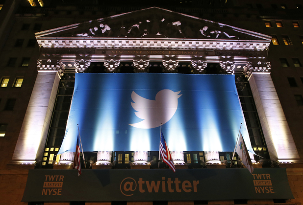 Twitter banner adoring the facade of the New York Stock Exchange in New York