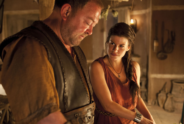 Hercules (Mark Addy) and Medusa (Jemima Rooper) in Atlantis episode 7: 'Rules of Engagement'