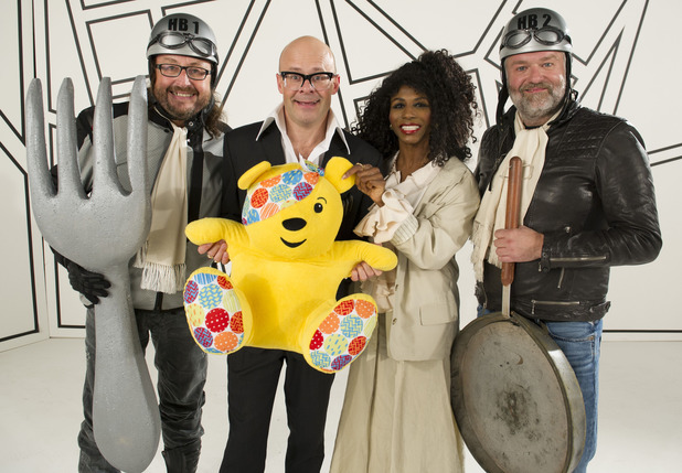 Dave Myers, Harry Hill, Sinitta and Si King for 'Take on Me' spoof for Children in Need
