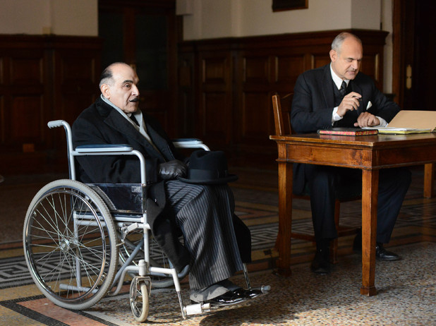 David Suchet as Hercule Poirot and Gregory Cox as the Coroner in 'Curtain'