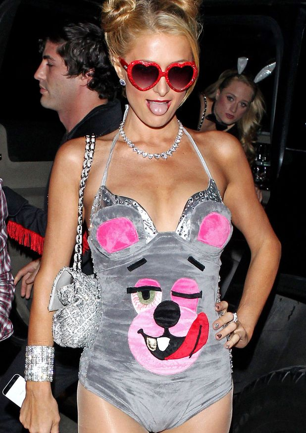 Paris Hilton wearing a 'Miley Cyrus' costume