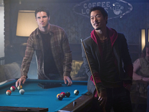Robbie Amell as Stephen and Aaron Woo as Russell in The Tomorrow People episode 6: 'Sorry For Your Loss'