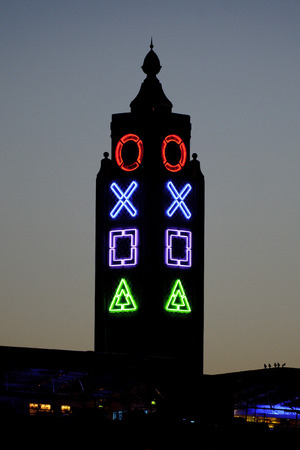 OXO Tower with PlayStation symbols