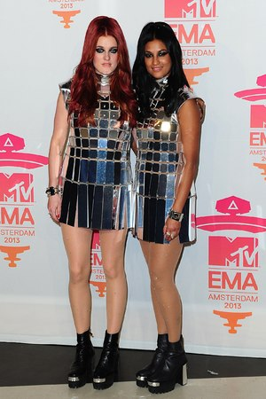 Caroline Hjelt and Aina Jawo of Icona Pop in the Press Room at the 2013 MTV Europe Music Awards at the Ziggo Dome Amsterdam, Netherlands.