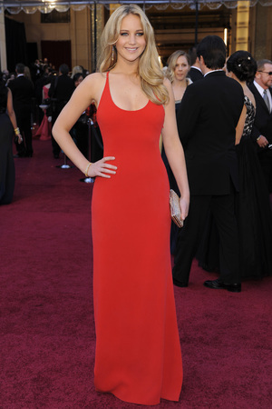 Actress Jennifer Lawrence arrives before the 83rd Academy Awards on Sunday, Feb. 27, 2011, in the Hollywood section of Los Angeles. (AP Photo/Chris Pizzello)