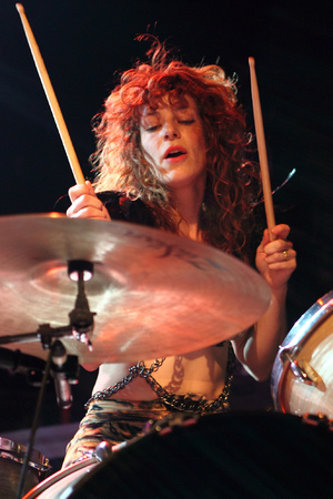 Deap Vally's Julie Edwards at Camden Electric Ballroom, November 14 2013