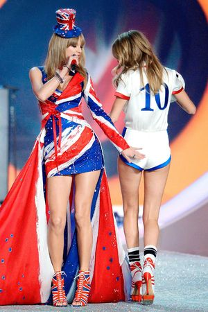 Taylor Swift and Cara Delevingne on the catwalk at the Victoria's Secret Fashion Show