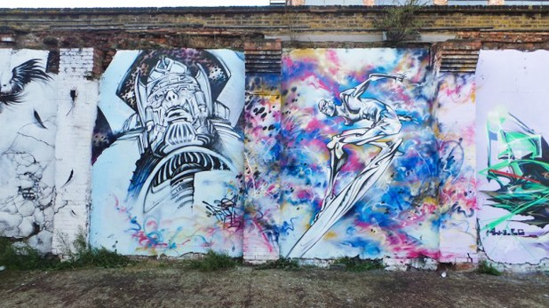 EndoftheLine Galactus and Silver Surfer mural