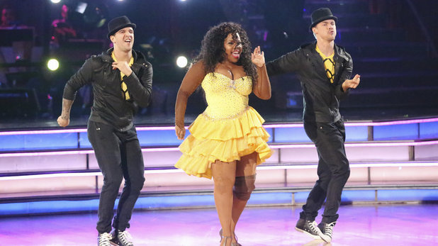 Mark Ballas, Amber Riley and Derek Hough