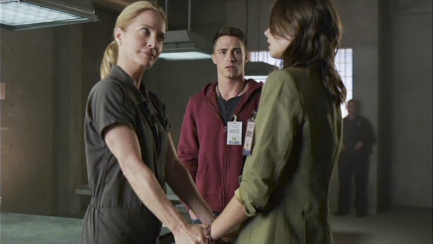 Susanna Thompson as Moira Queen, Colton Haynes as Roy Harper, and Willa Holland as Thea Queen in Arrow S02E06: 'Keep Your Enemies Closer'