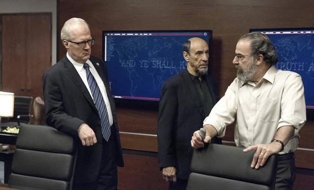 Tracy Letts as Senator Lockhart, F. Murray Abraham as Dar Adal and Mandy Patinkin as Saul Berenson in Homeland episode 7: 'Gerontion'